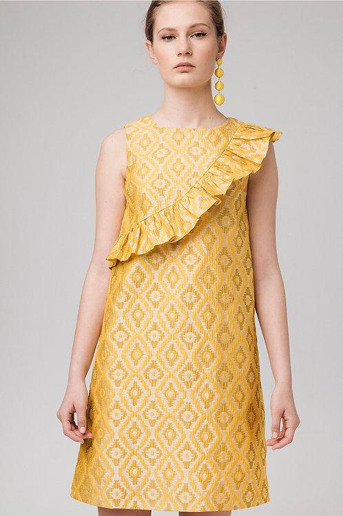 Vestido jacquard amarillo