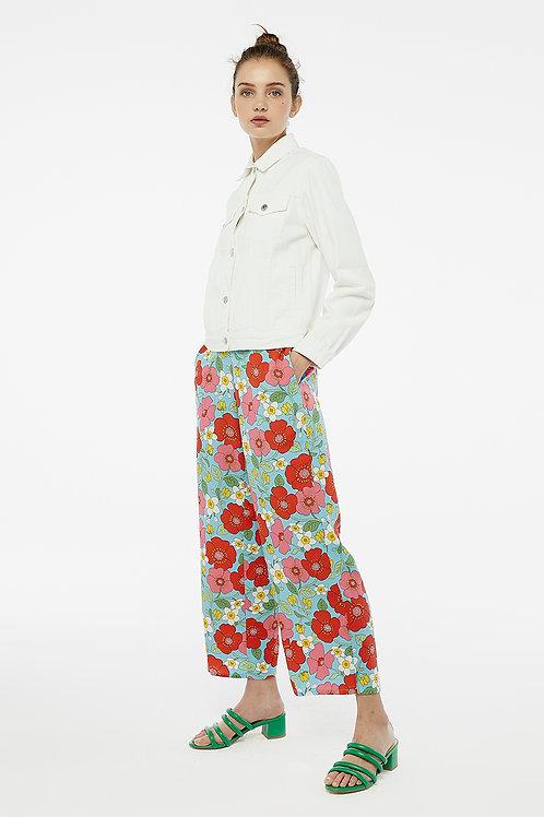 Pantalón flores multicolor sobre azul