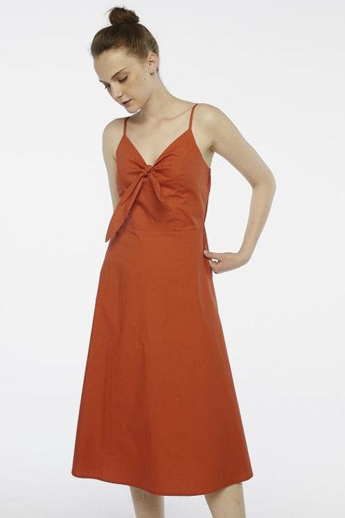 Vestido midi tirantes naranja