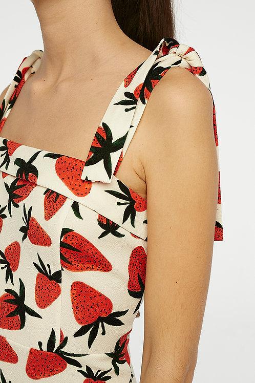 Vestido tirantes fresas midi