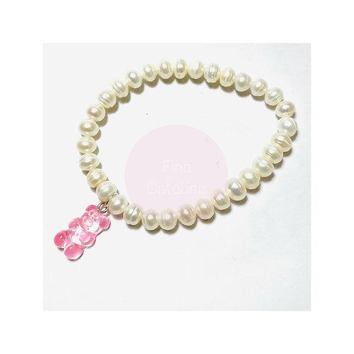 "Pulsera perlas naturales ""oso gomoso""rosa"