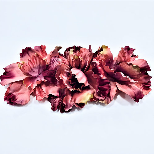 Broche flor MFY tonos rosas/burdeos