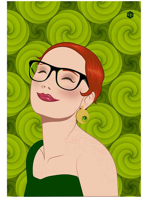 Postal ilustracion EV Toplove verde
