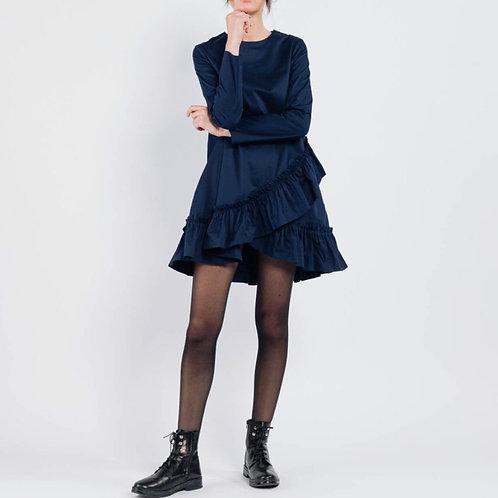 Vestido azul marino volantes