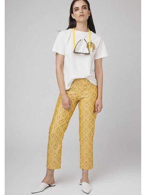 Pantalon jacquard amarillo