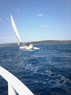 Buff sailing out of Volos