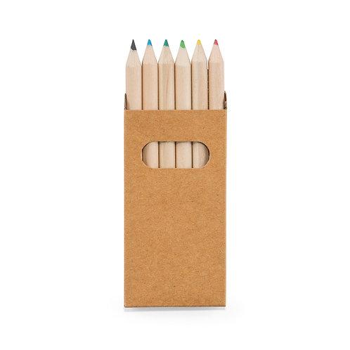 Caixa de cartão com 6 mini lápis de cor