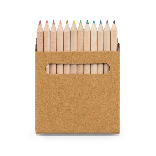 Caixa de cartão com 12 mini lápis de cor