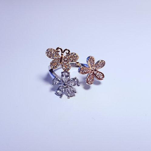 Ring med blomster og sommerfugle i 3 farver