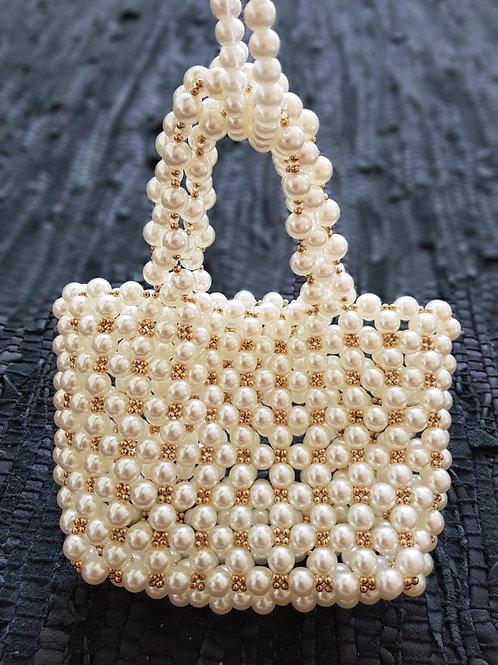 Bred perle taske med kort hank
