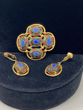 1968 Sarah Coventry Light of the East Brooch and Earrings