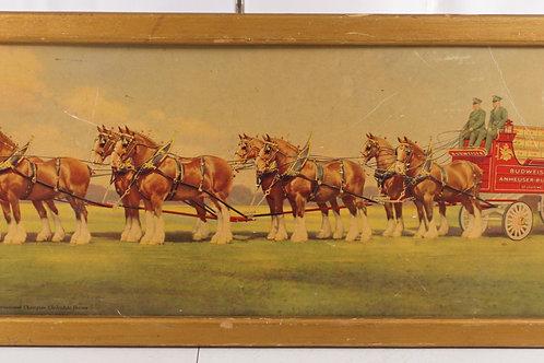 1950s Framed Budweiser Stagecoach Sign