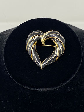Black Enamel and Rhinestone Heart Pin