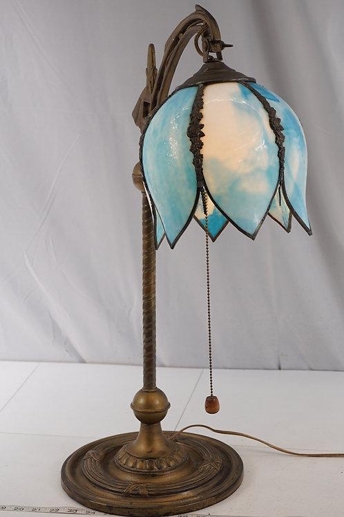 Art Deco Desk Lamp With Slag Glass Shade