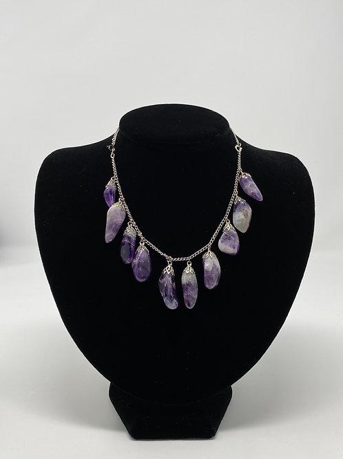 1960's Polished Purple Gemstone Necklace