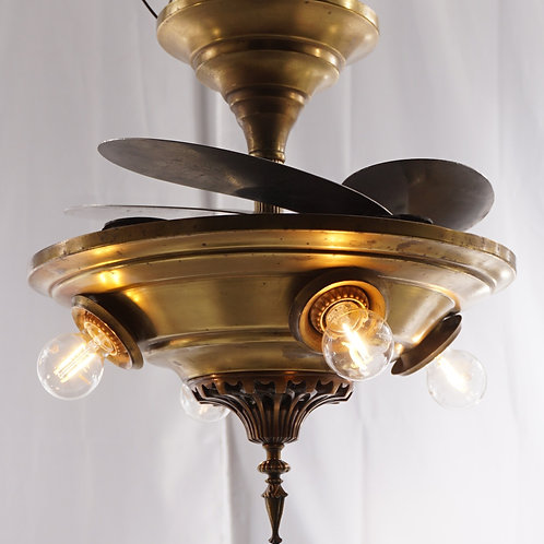 Early 1900s Retractable Blades Ceiling Fan With 4 Lights
