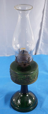 1880-90s Green Glass Oil Lamp With Embossed Flowers Design