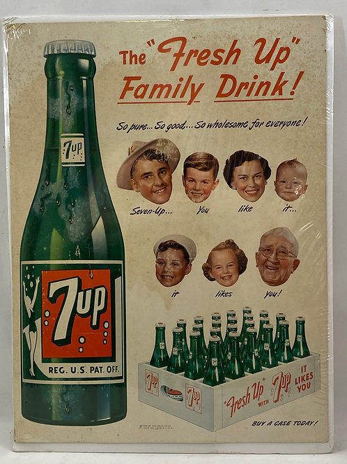 """7up the """"Fresh Up"""" Family Drink 1950s Ad"""