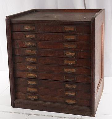 10 Drawer Oak File Cabinet