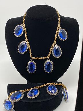 Blue Rhinestone Charm Bracelet and Necklace