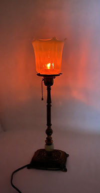 Brass Table Lamp with Vaseline Shade