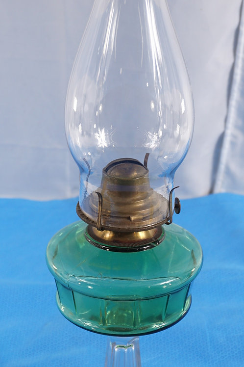 1890s Glass Oil Lamp - Green And Clear