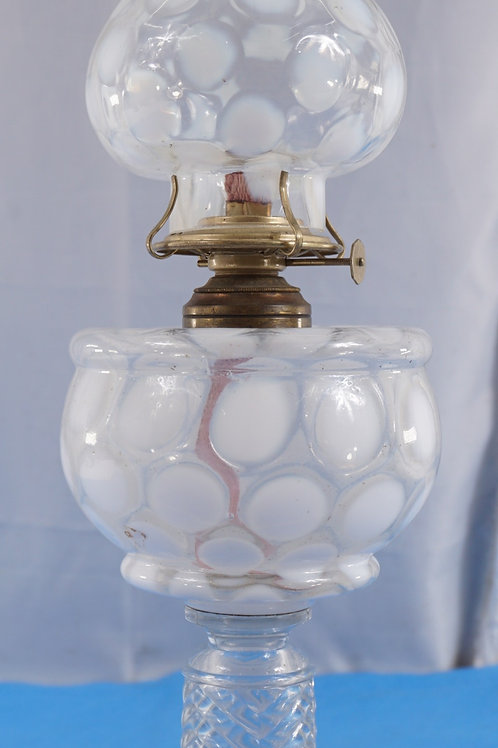 1890s Coin Dot Oil Lamp With Coin Dot Shade