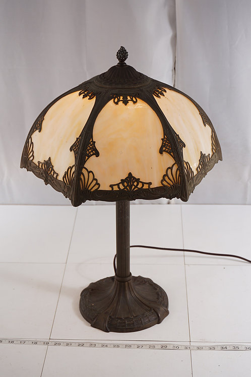 Early 1920s Table Lamp With Slag Glass Shade