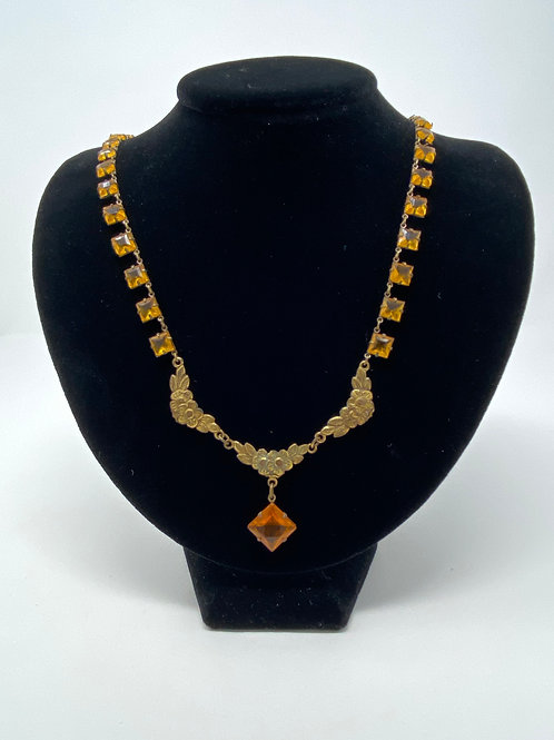 Art Deco Brass Flower and Brown Topaz Necklace