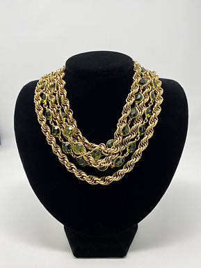 Brass Gold-Tone Chain and Emerald Green Crystal Necklace