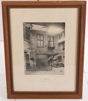1890 Framed Black and White Print of Building in Switzerland