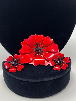 1960's Red Flower Pin and Clip Earrings