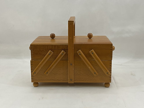 Vintage Wood According Sewing Box