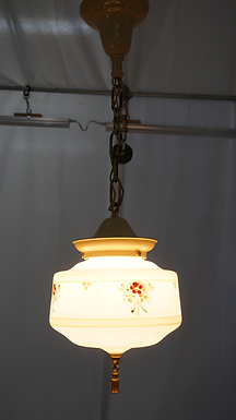 1930s Pendant Single Light Fixture With Hand Painted Floral