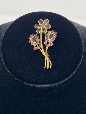 Art Deco Garnet Flower Brooch