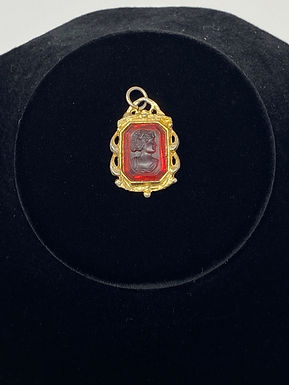 Art Deco Red Glass Pressed Cameo