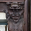 Thumbnail: Intricately Carved Quartersawn Oak Mantle with Northwind Face and Lion  CA 1900s