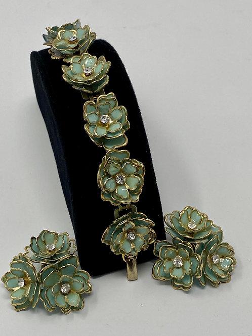 Vintage Coro Blue Enamel with Gold Trim Flower Bracelet and Earrings