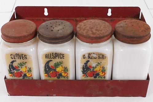 1930s Spice Rack with Milk Glass Shakers - Hoosier Set