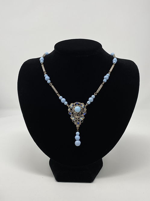 Vintage Enamel Light Blue Beads Silver Tone Links with Rhinestone Necklace