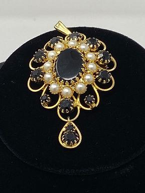 Black Rhinestone and Faux Pearl Pendant