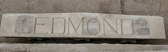 Architectural Carved Stone Building Sign - Edmond