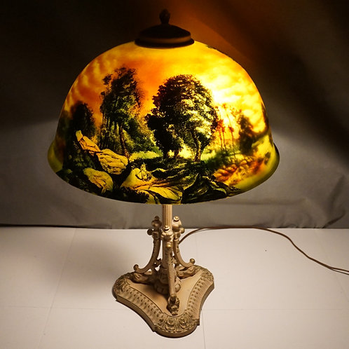 1920s Reverse Painted Table Lamp