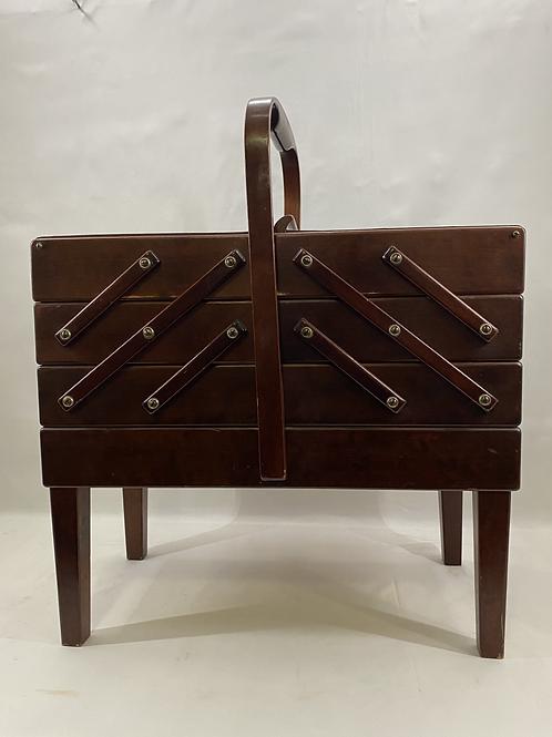 Vintage Wood According Sewing Box