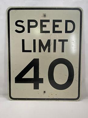 Aluminum Speed Limit 40 Sign