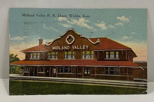 1914 Postmarked Midland Valley R R Depot, Wichita Kansas Postcard