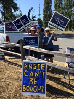 Sign Waving for Angie Homola
