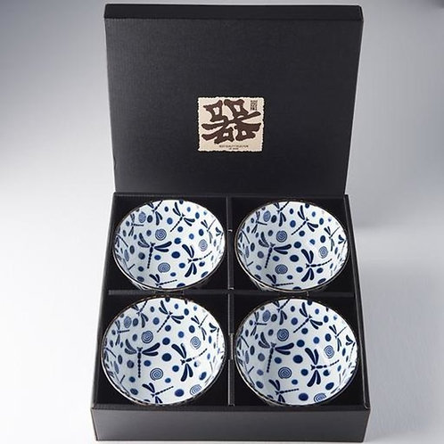 Boxed Bowl Set 4pce Blue Dragonfly 13D BOWL