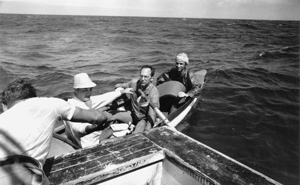 Don Newlands: A young Pierre Trudeau (in a white turban) on an attempt to row to Cuba.