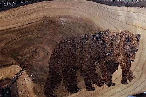 Bricka/trätavla handmålad, pyrografi